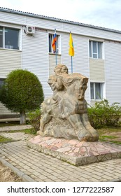 "ELISTA, RUSSIA - APRIL 19, 2017: City sculpture ""Rider"". Kalmykia"