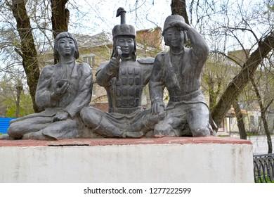 "ELISTA, RUSSIA - APRIL 19, 2017: City sculpture ""Three little athletes"". Kalmykia"
