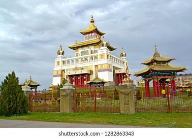 "ELISTA, RUSSIA - APRIL 19, 2017: Temple and arbors of the Buddhist temple complex ""Gold Monastery of Buddha Shakyamuni"". Kalmykia"