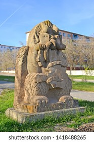 "ELISTA, RUSSIA - APRIL 20, 2017: Sculpture of ""Garudi-hranitel"" in the spring afternoon. Kalmykia"
