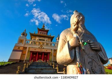 ELISTA, RUSSIA - APRIL 29, 2018: The Golden Abode of the Buddha Shakyamuni - the main buddhist temple of Republic of Kalmykia.