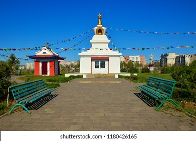 ELISTA. RUSSIA - APRIL 30, 2018: Enlightenment Stupa in Elista, Kalmykia