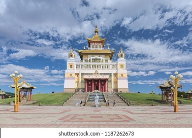 ELISTA, RUSSIA - AUGUST 12, 2018: Burkhan Bakshin Altan Sume (The Golden Abode of the Buddha Shakyamuni) - the main buddhist temple of Republic of Kalmykia. It was consecrated on December 27, 2005.