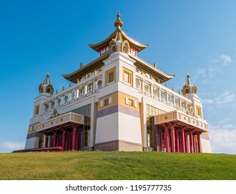 "Elista, Russia. Buddhist temple ""Golden Abode of Buddha Shakyamuni"" at republic of Kalmykia."