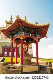 "Elista, Russia - September 12, 2017: Pagoda with statue of great teacher Atisa near Buddhist temple ""Golden Abode of Buddha Shakyamuni"". Republic of Kalmykia."