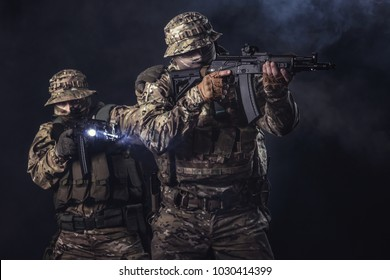 Elite squad soldiers with weapons and ammunition
