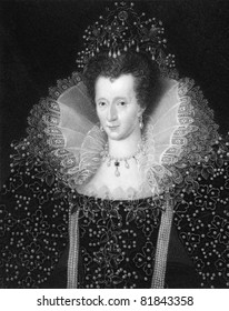 Elizabeth I (1533-1603). Engraved by W.Holl and published in The Gallery of Portraits with Memoirs encyclopedia, United Kingdom, 1837.