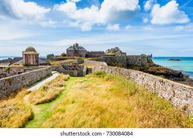 Elizabeth Castle, off the coast of Saint Helier, Jersey, Channel Islands, UK