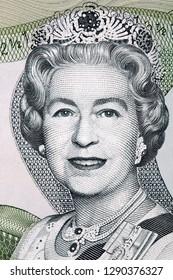 Elizabeth II portrait from Bahamian dollars