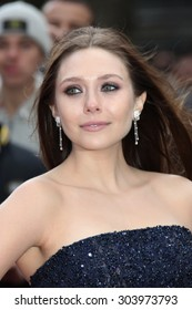 Elizabeth Olsen European premiere of Godzilla red carpet arrivals, held at Odeon cinema in Leicester square in London on 11 may 2014.