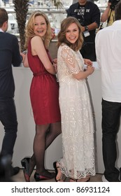 """Elizabeth Olsen & Louisa Krause at the photocall for their movie """"Martha Marcy May Marlene"""" at the 64th Festival de Cannes. May 15, 2011  Cannes, France Picture: Paul Smith / Featureflash"""