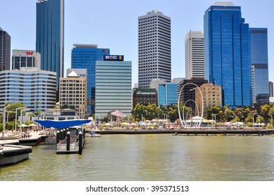 Elizabeth Quay development and inlet with cityscape in Perth/Inlet and Cityscape/PERTH,WA,AUSTRALIA-FEBRUARY 13,2016: Elizabeth Quay artificial inlet with cityscape in Perth, Western Australia.