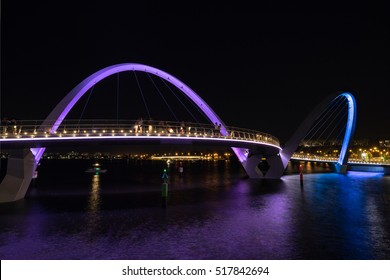 Elizabeth Quay footbridge on the waterfront in Perth