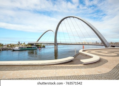 Elizabeth Quay footbridge in Perth waterfront in western Australia