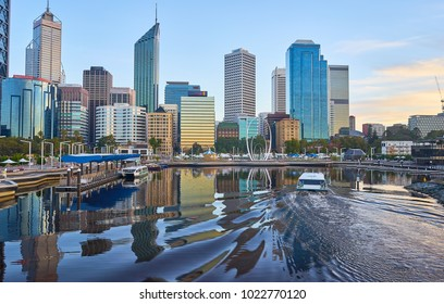 Elizabeth Quay waterfront at sunrise in Perth Western Australia