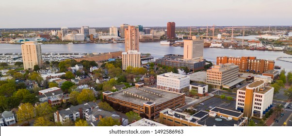 The Elizabeth River cuts through the Virginia towns of Portsmouth and Norfolk