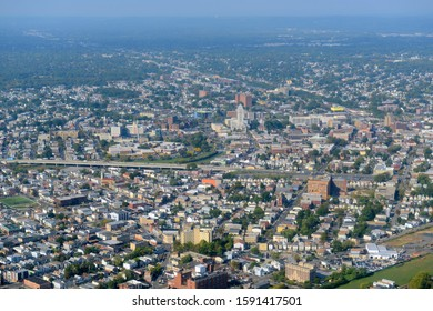 Elizabeth skyline aerial view including Superior Court of New Jersey and First Presbyterian Church, City of Elizabeth, New Jersey, NJ, USA.