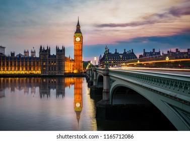 Elizabeth tower known as Big Ben clock near Westminster bridge