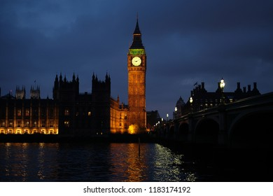 The Elizabeth Tower, known as Big Ben, illuminated in the evening