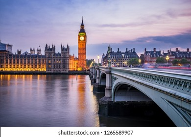 Elizabeth tower known as Big Ben clock and Westminster bridge at blue hour