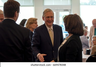 Elizabethtown, Kentucky â?? June 30, 2017:  Republican Senator Mitch McConnell greets people at fundraiser in Elizabethtown, Kentucky, on June 30, 2017.