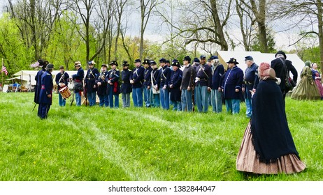 Elizabethtown, PA - April 2019: Abe Lincoln Funeral Train Re-Enactment
