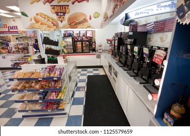 Elk Grove, CA - November 15, 2013: Interior of the AMPM Arco gas station convenience store. Coffee bar and snacks shown.