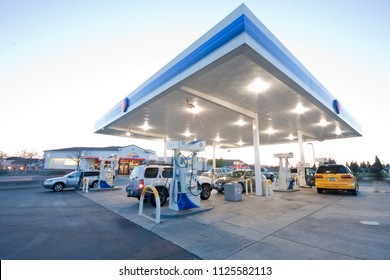 Elk Grove, CA - November 15, 2013: ARCO gas station exterior. Corner view with drivers getting gassed up.