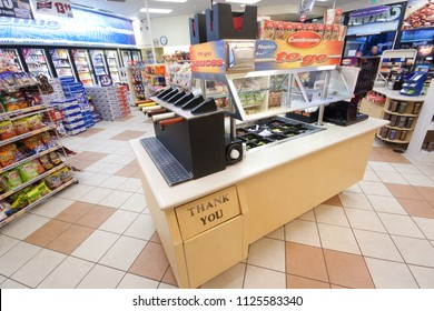 Elk Grove, CA - November 15, 2013: Hot dog bar inside an AMPM convenience store at ARCO station. Condiments station shown in this image.