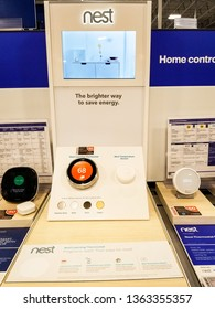 ELK GROVE, CA/U.S.A. - MARCH 23, 2019: Photo of a Nest display at a technology store.  Nest products are part of the smart home movement and feature programmable thermostats.