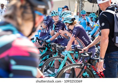 Elk Grove, CA/U.S.A. - MAY 17, 2018: Hannah Patyon talks to her Trek-Drops teammates prior to the start of Stage 1 at the annual Amgen Tour of California cycling race.