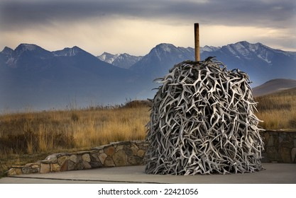 Elk Horns Pile Snow Mountains National Bison Range Charlo Montana  Every year elk shed their horns, which have been piled up.