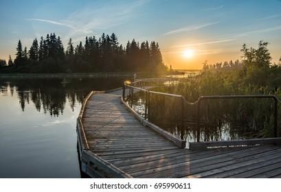 Elk Island National park sunset over Astotin lake