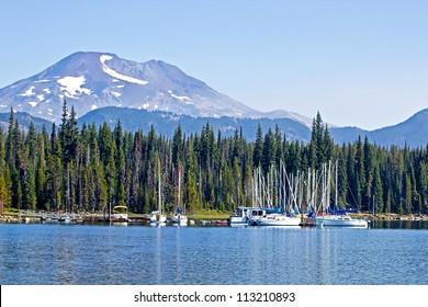 Elk Lake boat marina with Mt. Bachelor in background, Oregon