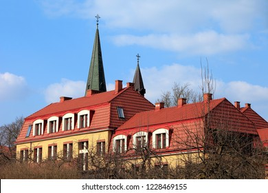 Elk, Masuria / Poland - 2010/03/27: Diocesan curia historic building in the masurian town of Elk at the Elckie lake