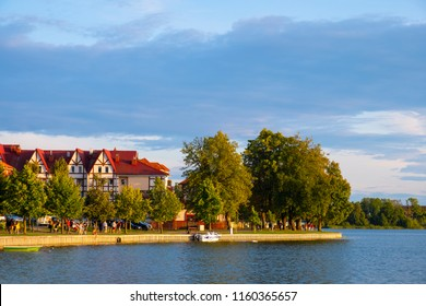Elk, Masuria region / Poland - 2018/08/15: Panoramic view of the town of Elk at the Elckie lake