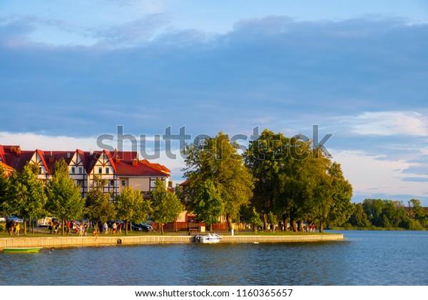 Elk, Masuria region / Poland - 2018/08/15: Panoramic view of the town of Elk at the Elckie lake