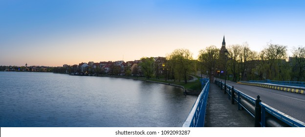 Elk, Poland - April 22, 2018: View on the Elk city from the bridge on the Elk lake.