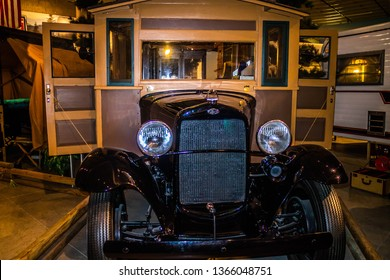 Elkhart, IN, USA - July 1, 2018: An 1913 Earl Travel Trailer preserve inside RV/MH Hall of Fame Museum