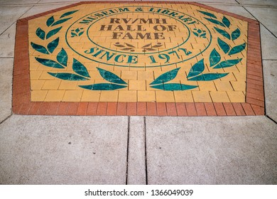Elkhart, IN, USA - July 1, 2018: A welcoming sign using bricks at the entry point of RV/MH Hall of Fame Museum