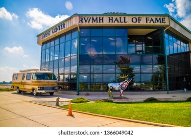 Elkhart, IN, USA - July 1, 2018: A welcoming sign on top of a building at the entry point of RV/MH Hall of Fame Museum