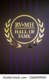 Elkhart, IN, USA - July 1, 2018: A carpet formed sticker logo of RV/MH Hall of Fame Museum