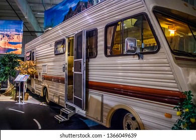 Elkhart, IN, USA - July 1, 2018: A 1969 Pace Arrow preserve inside RV/MH Hall of Fame Museum