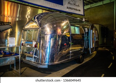 Elkhart, IN, USA - July 1, 2018: A 1958 Airstream Trailer preserve inside RV/MH Hall of Fame Museum