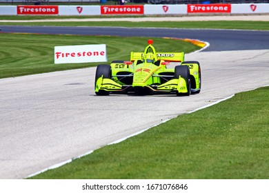 Elkhart Lake, Wisconsin - June 21, 2019: 22 Simon Pagenaud, France,Team Penske, REV Group Grand Prix at Road America, on course for practice session.