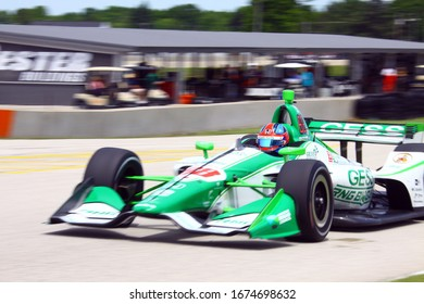 Elkhart Lake, Wisconsin - June 21, 2019: 88 Colton Herta, USA, Harding Racing, REV Group Grand Prix at Road America, on course for practice session.