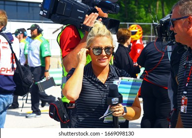 Elkhart Lake, Wisconsin - June 22, 2019: Katie Hargitt, IndyCar pit reporter. Hargitt established ?Fuel the Female,? an organization dedicated to empowering women to achieve their dreams.