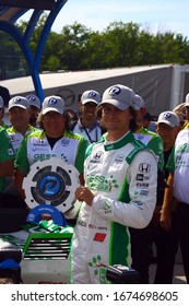 Elkhart Lake, Wisconsin - June 22, 2019: 88 Colton Herta, USA, Harding Racing, REV Group Grand Prix at Road America, pole award ceremony.
