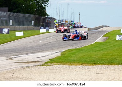 Elkhart Lake, Wisconsin- June 23, 2019: 14 Tony Kanaan,Brazil, A.J. Foyt  NTT Indycar during the race at Road America.