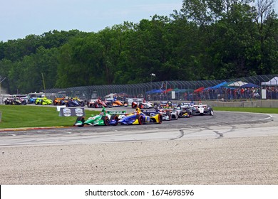 Elkhart Lake, Wisconsin- June 23, 2019: 88 Colton Herta, USA, Harding Racing, NTT Indycar race at Road America.